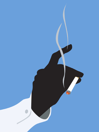 Illustration of lighted cigarette in the hand of a man     Illustration