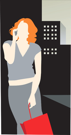 trouser: Illustration of silhouette of female with her carry bag
