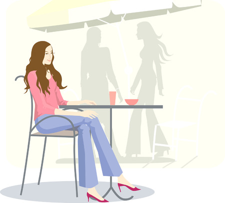 Illustration of a female sitting in a cafeteria