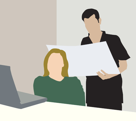 key pad: Illustration of  male and female in a meeting