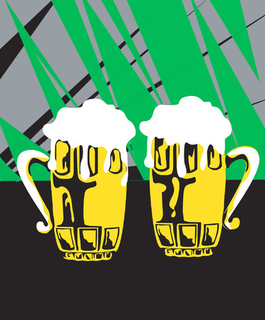 two overflowing beer glass Vector