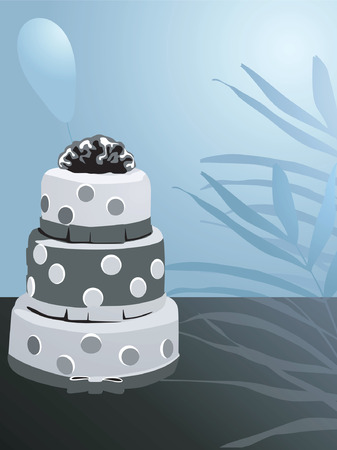 Illustration of decorated cake and leaf and flower