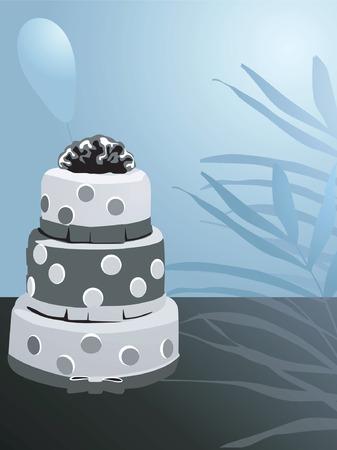 amigos comiendo: Ilustraci�n de pastel decorado y de la hoja y flor