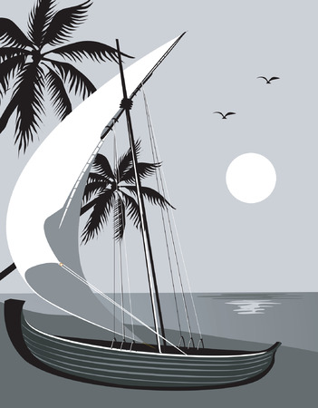 horizon over water: Illustration of sailing boat in beach