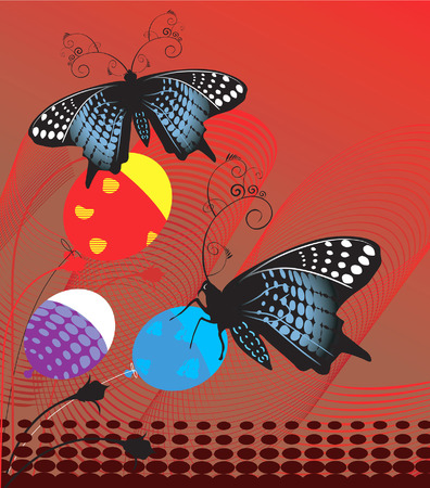 Illustration of butterflies with balloons in colourful background  Vector