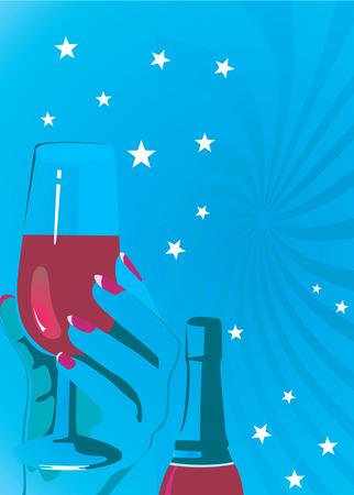 whisky bottle: Illustration of hand holding wine glass