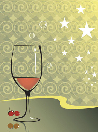 Illustration of wine glass and berries in floral background  Vector