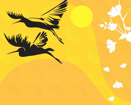 airone: Illustrazione di due fenicotteri nel floral background
