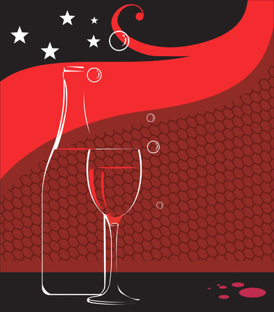 Illustration of wine glass and wine bottle with stars  Vector