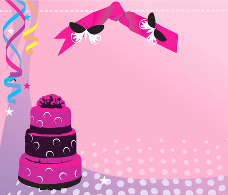craving: Illustration of decorated baked cake with ribbons