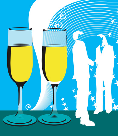 Illustration of silhouette of man and women near wine glasses.  Vector