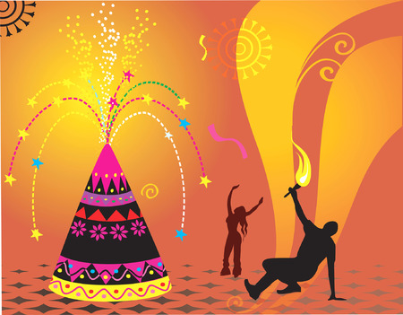 Illustration of firecracker with silhouette of dancing people  Vector