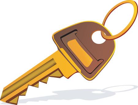 golden key: Illustration of a golden key with ring    Illustration
