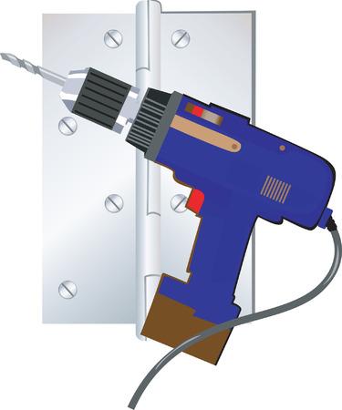 Illustratie van blauwe elektrische driller met chord