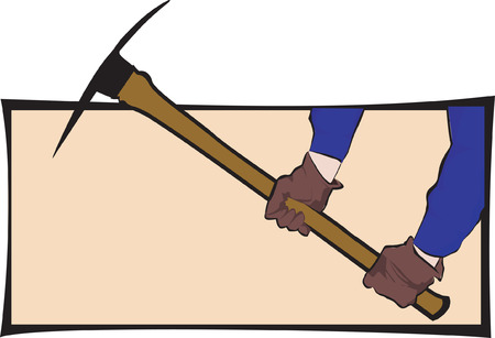 pick axe: Illustration of pick axe in the hands of man worn glove