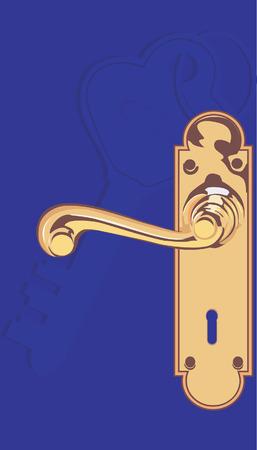 door lock: Illustration of door lock with handle in blue frame