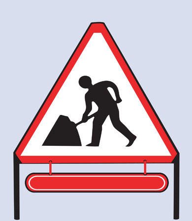 Illustration of a road sign showing man at work Stock Vector - 2146358
