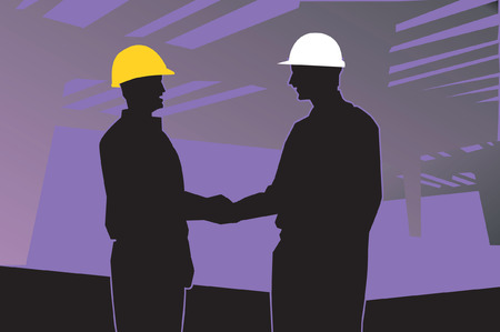 Illustration of silhouette of two engineers shaking hands  Illustration