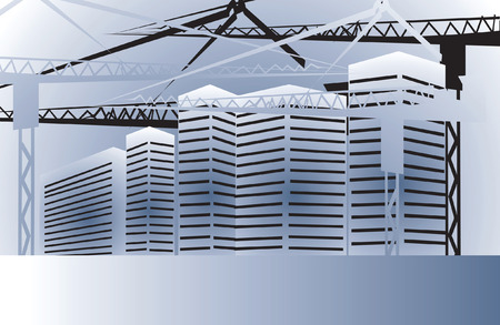 Illustration of big buildings under metal platforms Vector