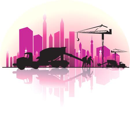 Illustration de la terre d�placeur dans un chantier de construction