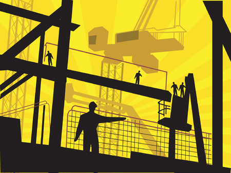 Illustration of silhouette of workers standing in a factory.  Vector