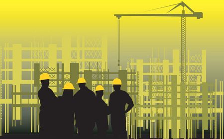 Illustration of silhouette of group of men standing in a construction site  Vector