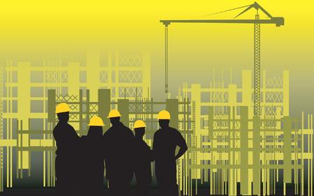 ingegneri: Illustrazione della sagoma di un gruppo di uomini in piedi in un cantiere edile