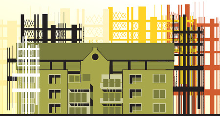 Illustration of buildings in a construction site  Illustration