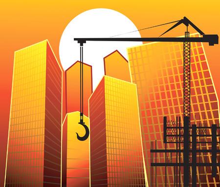 trabajo manual: Ilustraci�n de gr�a de elevaci�n cerca de los edificios