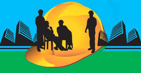 bauarbeiterhelm: Illustration der Silhouette der Gruppe der M�nner in der N�he eines hardhat