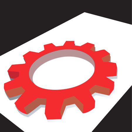 grooved: Illustration of a red mechanic wheel in white surface