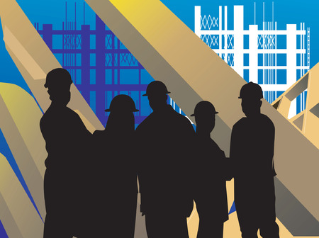 factory workers: Illustration of silhouette of group of men standing in a construction site