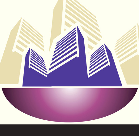 Illustration of buildings placed in a concrete bowl  Vector