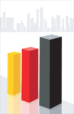Illustration of thrre graphical blocks placed near silhouette of buildings  Vector