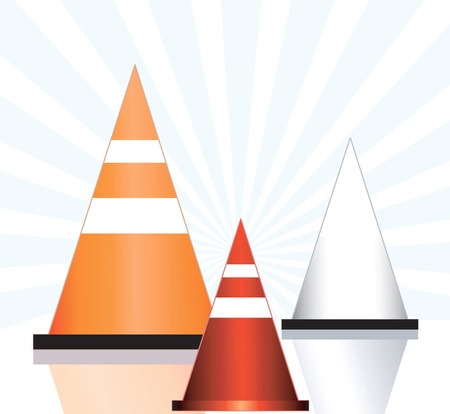 Illustration of three rod divider cones   Vector