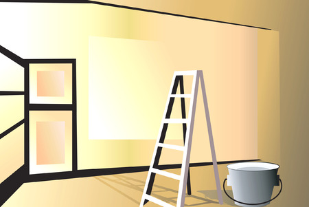 furnishing: Illustratie van een glanzende kamer van het inrichtings proces  Stock Illustratie