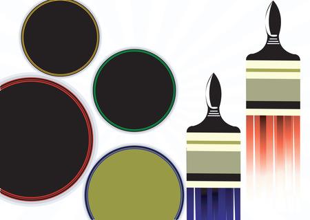 furnishing: Illustratie van twee penselen geplaatst buurt rondes Stock Illustratie