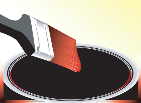 paint container: Illustration of paint brush and  opened paint container Illustration