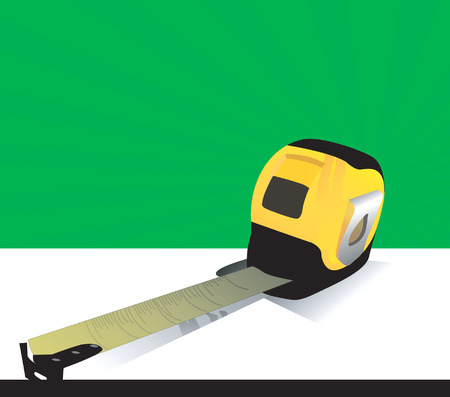 centimetre: Illustration of a measuring tape placed on a white surface keeping tape extended