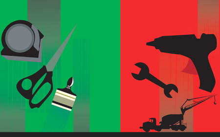 displaced: different working tools displaced in red and green  Illustration
