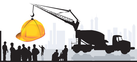 factory workers: group of men standing in a construction site with earth mover lifting a hardhat  Illustration
