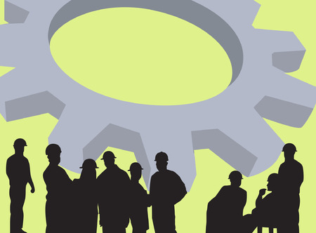 silhouette of group of men standing near a machine wheel Illustration