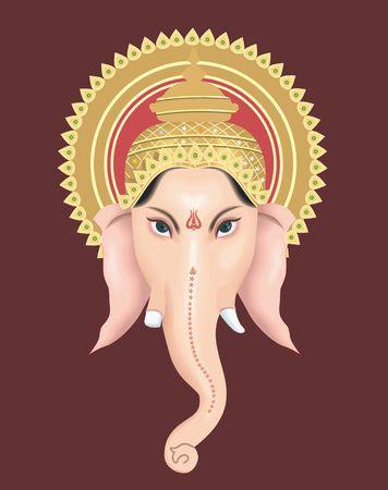 ganesh: Illustratie van Heer Ganesh met zijn kroon