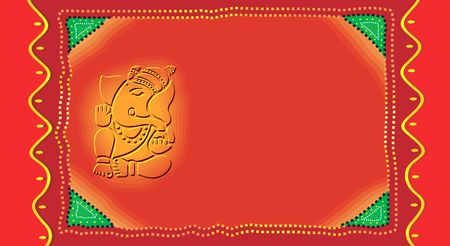 Ganesh on Invitation-card in radiant red, Stock Photo - 2155726