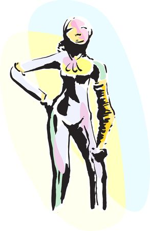 Illustration of Silhouette Sculpture of Goddess  naked