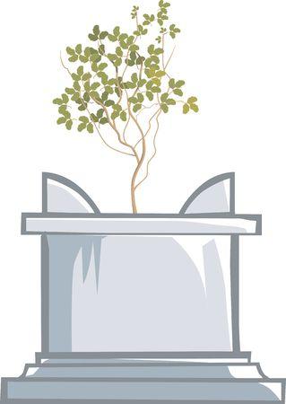 tulsi: Illustration of Tulsi, a herbal plant on a foundation