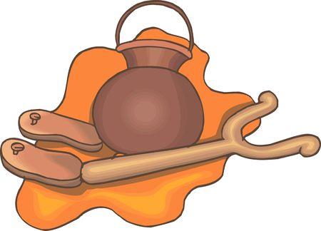 shakti: Illustration of pooja pot and hand rest  Stock Photo