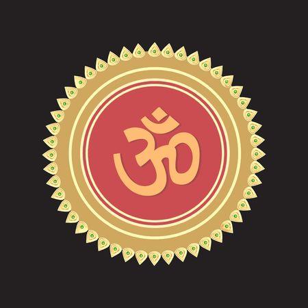 Illustration of Om in a crowned golden plate  illustration