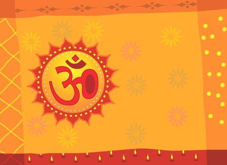 shakti: Illustration of divine Om in floral plane