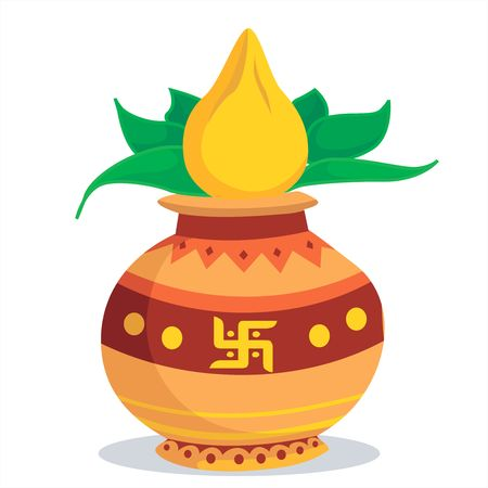 pooja: Illustration of divine pot with coconut and betel leaf